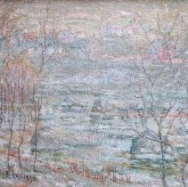 Image of American Art - Spring Landscape, Harlem River and House