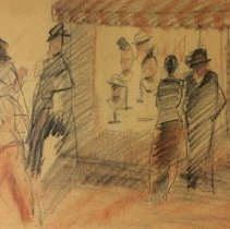 "Image of American Art - ""Street Scene, in Front of Hat Shop"""