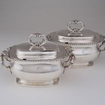 Image of British Georgian Silver - Sauce Tureen and Cover