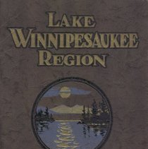 "Image of Green cloth-covered booklet (paperback) entitled ""Lake Winnipesaukee Region.  New England's Playground"" by The Winnipesaukee Lake Region Associates of Laconia, NH"".  Image of a  the lake depicted on the cover in gold and blue.  Stapled binding.  Filled with many pictures/prints of the lake, golfing, horseback riding, skiing and skating, the Old Man of the Mountain, camp sites, jazz band, boating etc..."