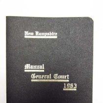 "Image of Item is a booklet entitled ""New Hampshire Manual General Court 1963.""  It has a black cover with gold writing on it.  The pages are white with black printing.