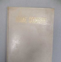 "Image of Book is a light green, hardcover book which reads, ""Home Cookery"" in gold lettering on the front.  It contains dozens of recipes from Laconia women, put together by the Congregational Church of Laconia."