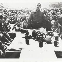 Image of Dixie Mission with Mao Tse Tung, Col Barrett, and George Nakamura.