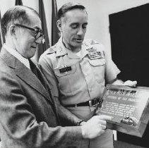 Image of Col. Foster and Shig Kihara with Crissy Field plaque.
