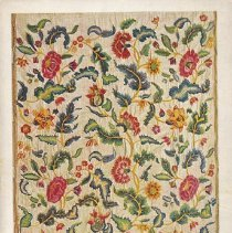 Image of Postcard - Bed-Curtin Cotton, embroidered with coloured wools, English; second half of the 17th century
