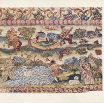 Image of Postcard - Part of Embroidered Table Cover, A Country House. English; Elizabethan, about 1600. Silk and linen on canvas; tent stich (petit point) 24in. by 16in.