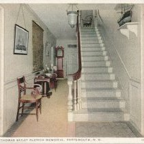 Image of Postcard - The Hall, Thomas Bailey Aldrich Memorial, Portsmouth, N.H.