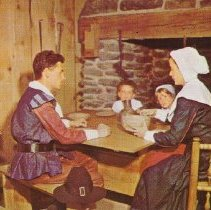 Image of Postcard - A Pilgrim Family at Meal Time