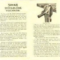 Image of Shaler Stitch-In-Time Vulcanizer Brochure/Manual