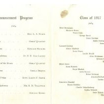 Image of Program of commencement and Class of 1917