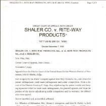 Image of Page 1 (Shaler company V. Riteway Products