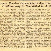 Image of Bentleys Receive deceased son's Purple Heart Award