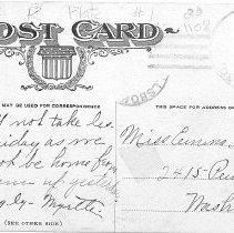 Image of Hillsboro post card reverse