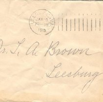 Image of Envelope to Dr. L.A. Brown of