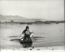 Image of Rhoda May Adamson rowing in Malibu Lagoon