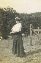 Image of Rhoda Agatha near cattle pens, ca 1912
