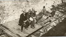 Image of Frederick H. Rindge, Jr (front) and friends taking a cruise on the Rindge railway. - TRR-5