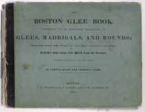 Image of The Boston Glee Book consisting of an extensive collective of Glees, Madrigals, and Rounds; selected from the works of the most admired composers together with many new pieces from the German. Has autographs in front including Jane H. Harrington, 1860 and  Laura Spooner, 1866 - Book
