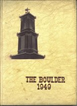 Image of Yearbook from Fitchburg High School, The Boulder 1949 commemorates the 100th anniversary of the school.  It contains photos of the faculty, board of editors, the school, the graduates, activities, groups, clubs, plays, and sports.  The back pages are advertisements. - Yearbook