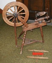 Image of flax wheel spinning wheel textiles crafts - spinning wheel flax