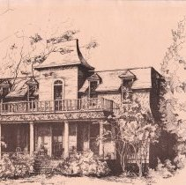 Image of An Ink Drawing of  the Sims-Biard House - Historic Homes - Bonham