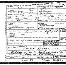 Image of Death Certificate of Sarah Weeks