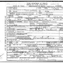 Image of Death Certificate of Brevard Weaks