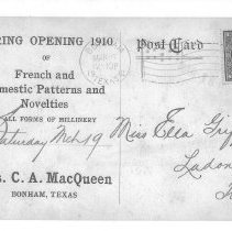 Image of Opening announcement of Mrs.MacQueen's store