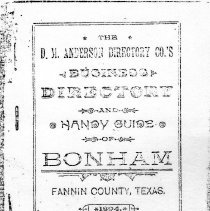 Image of D. B. Anderson Business Directory and Handy Guide of Bonham, Fannin Co., Texas. 1894 - Directories