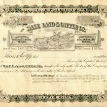 Image of Dale Land & Cattle Co. Stock Certificate No. 128. - Stock Certificates