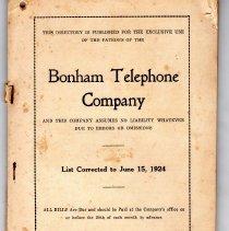 Image of Bonham Telephone Company Directory, list corrected to June 15, 1924. - Directories