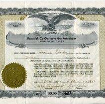 Image of Randolph Co-Operative Gin Association Stock Certificate. - Randolph Town Collection