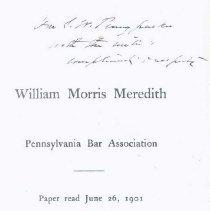"Image of ""William Morris Meredith...Pennsylvania Bar Association"" - Ashhurst, R. L."