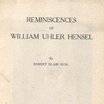 "Image of ""Reminiscences of William Uhler Hensel"" - Risk, Robert Blair"