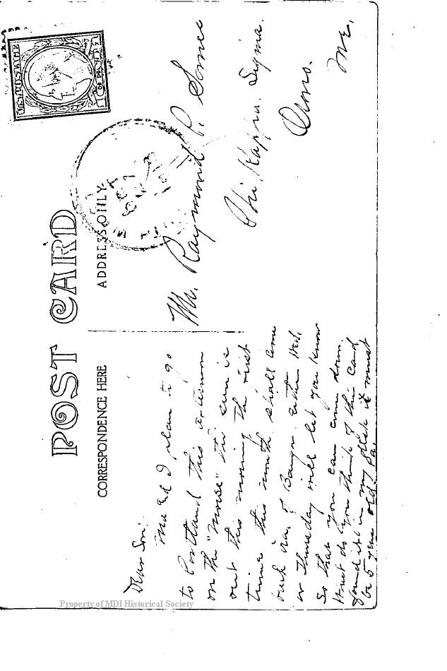 Postcard from A.L. Somes to son Raymond P Somes