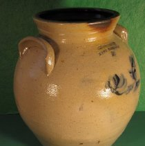 Image of Jar - Pottery, 2 gallon jar, semi-wide mouth with inside flange for cover, ear handles, cobalt blue floral design.