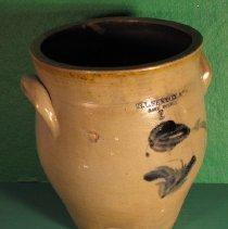 Image of Jar - Pottery, 1 gallon bulging jar, wide mouth, ear handles, gray, blue floral decoration and lettering under salt glaze.