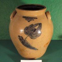 Image of Jar - Pottery, 2 gallon bulging semi-wide mouth jar, ovoid two ear handles, gray, salt glaze, cobalt blue tulip decoration, lettering, brown inside.