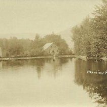 Image of Postcard - Post Card Black and White postcard of Prentiss Pond by Charles Parker, of Dorset, Vermont.  Note commercial buildings on north shore.