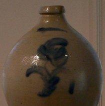 Image of Jug - Cream jug with cobalt blue tulip graphics made by Luman Norton & Sons Bennington, VT  c. 1833 – 1841  Jonathan Fenton was Luman Norton's son-in-law
