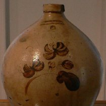 Image of Jug - Cream jug with brown decorations made by Norton & Fenton Bennington, VT c. 1845 – 1847.  Christopher Fenton, formerly of Dorset, was in partnership with his brother-in-law for two years.