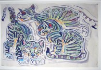 Image of watercolor - Three Striped Kittens