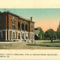 Image of Postcard - Post Office, Trinity Episcopal, and First Presbyterian Churches