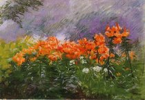 Image of Painting - Landscape With Tiger Lillies