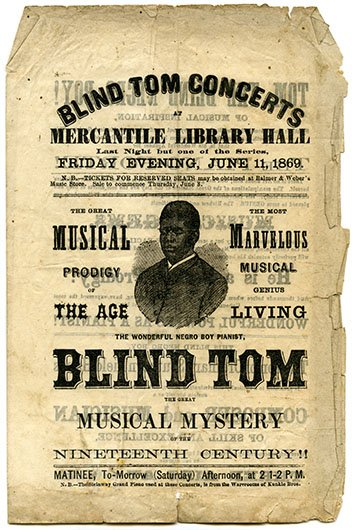 blind tom thomas greene wiggins bethune Thomas blind tom wiggins (may  the marvelous musical prodigy thomas greene 'blind  james bethune, discovered wiggins' musical abilities and.