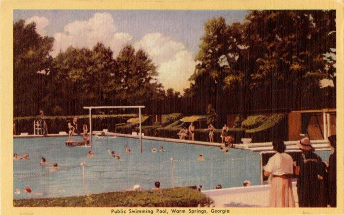 postcard - Public Swimming Pool, Warm Springs, Georgia