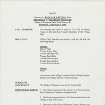 Image of Board of Trustees Minutes, Village of Evergreen Park, IL 1/3/1994 - 12/19/1994 - Minutes