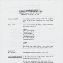 Image of Board of Trustees Minutes, Village of Evergreen Park, IL 1/5/1998 - 12/21/1998 - Minutes