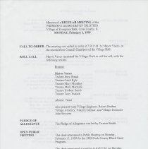 Image of Board of Trustees Minutes, Village of Evergreen Park, IL 2/1/1999 - 12/20/1999 - Minutes