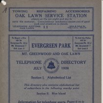 Image of Evergreen Park, Mt. Greenwood, and Oak Lawn Telephone Directory July 1926 - Directory, Telephone